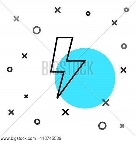 Black Line Lightning Bolt Icon Isolated On White Background. Flash Sign. Charge Flash Icon. Thunder