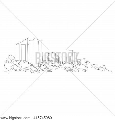 Urban Landscape. Vector Image. Graphic Drawing Of The City. One Continuous Line. One Line