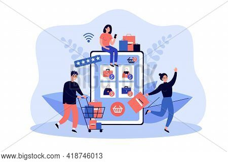 Tiny Customers Buying Goods In Online Store Using Giant Tablet. Vector Illustration. Group Of Shopah