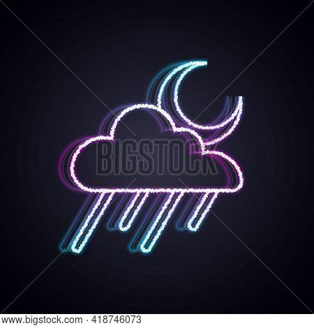 Glowing Neon Line Cloud With Rain And Moon Icon Isolated On Black Background. Rain Cloud Precipitati