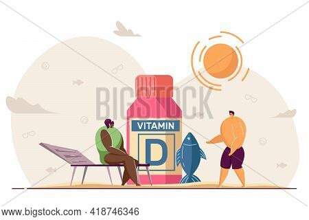 Tiny People With Sources Of Vitamin D. Cartoon Characters Taking Supplements For Good Health And Ski