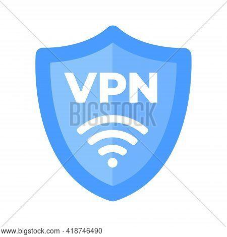 Wireless Shield Vpn Wifi Icon Sign Flat Design Vector Illustration. Wifi Internet Signal Symbols In