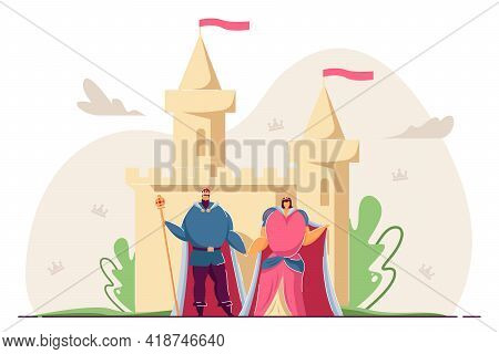 King And Queen Holding Hands In Front Of Castle. Cartoon Royal Family, Ancient Palace Flat Vector Il