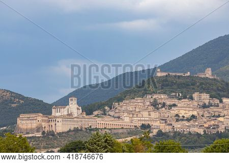 Panoramic view of Assisi old town, Province of Perugia, Umbria region, Italy