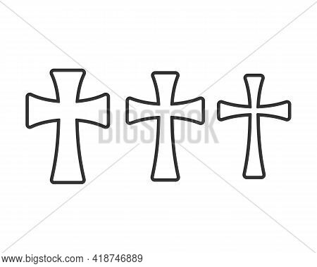 Cross Vector Shape Symbol Collection. Christianity Sign Set. Christian Religion Icon. Catholic And P
