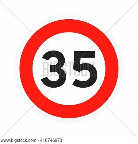 Speed Limit 35 Round Road Traffic Icon Sign Flat Style Design Vector Illustration Isolated On White