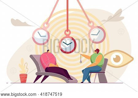 Patient At Hypnosis Session. Cartoon Psychotherapist With Pocket Watch Making Client Go Into Trance