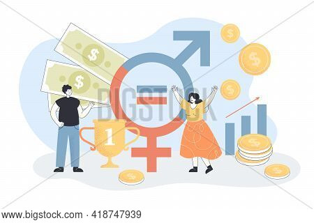 Happy Man And Woman In Front Of Gender Sign. Wage, Salary Equality For Business People Flat Vector I