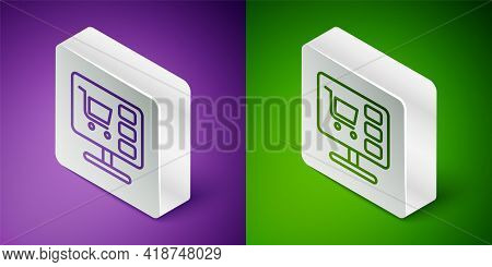 Isometric Line Shopping Cart On Screen Computer Icon Isolated On Purple And Green Background. Concep