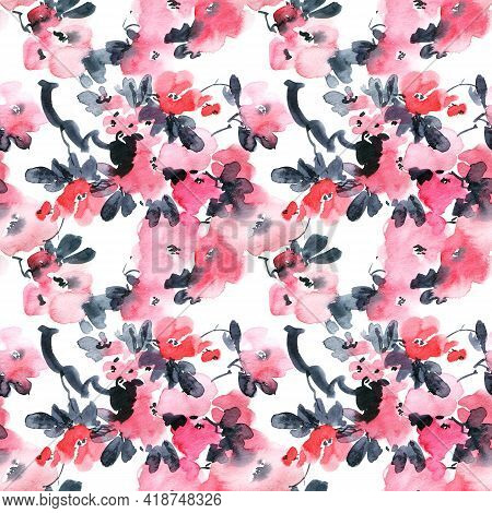 Watercolor And Ink Illustration Of Blossom Sakura Tree With Pink Flowers And Leaves. Seamless Patter