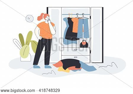 Woman Choosing Clothes From Wardrobe. Female Character Picking Outfit, Pile Of Clothes, Closet Flat