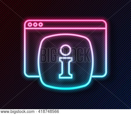 Glowing Neon Line Computer Monitor With Text Faq Information Icon Isolated On Black Background. Freq