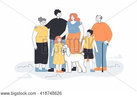 Happy Big Cartoon Family With Dog. Father, Mother, Son, Daughter, Grandpa, Grandma And Pet Flat Vect