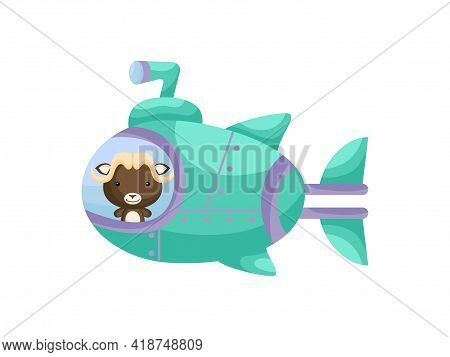 Cute Little Musk-ox Sail On Emerald Submarine. Cartoon Character For Childrens Book, Album, Baby Sho