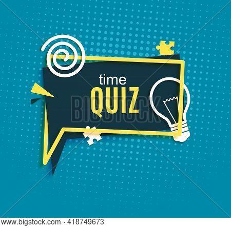 Quiz Time Speech Bubble In Paper Cut Style. Trivia Show Blue Sticker In Memphis Retro Style. 80s 90s