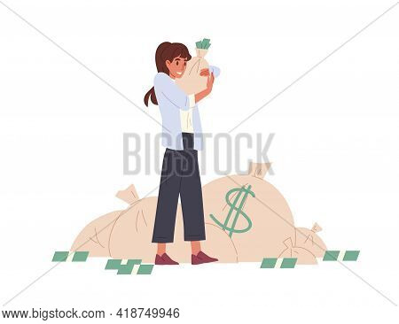 Happy Rich Person Holding Bag Stuffed With Money. Young Woman With Her Savings In Moneybag. Wealth A