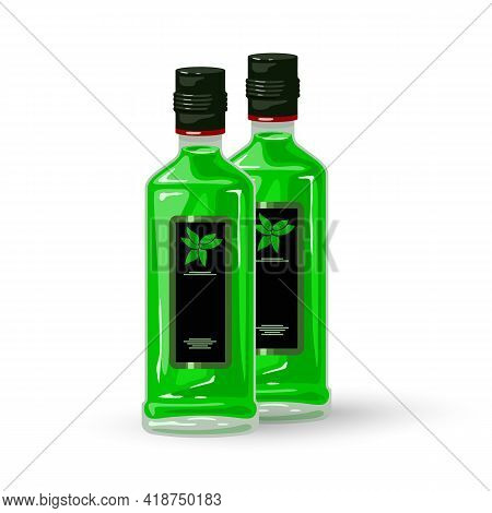 Cartoon Glass Bottle Of Absinthe Liquor, Alcoholic Beverage. Vector Green Liquid, Strong Alcohol Dri