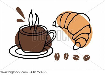 Coffee Mug With Croissant Sketch. Tasty Morning Breakfast. Hot Drink And Pastries. Line Art In Minim