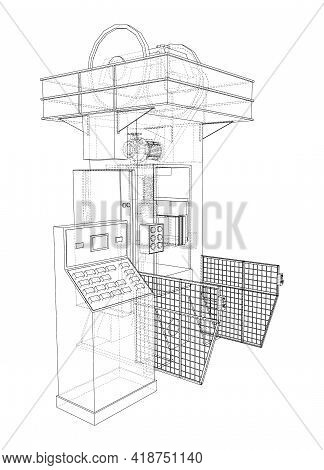 Hydraulic Press. Vector Rendering Of 3d. Wire-frame Style