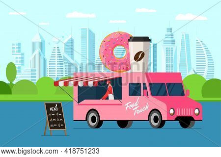 Fast Food Pink Truck With Baker Outdoor City Park. Donut And Coffee Paper Cup On Van Roof. Doughnut