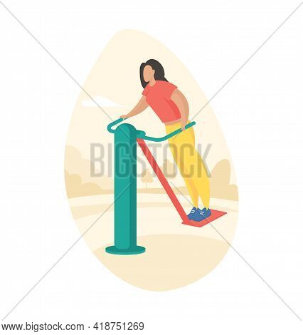 Outdoor Fitness Equipment Flat Illustration. Female Cartoon Character Doing Workout Exercises Using