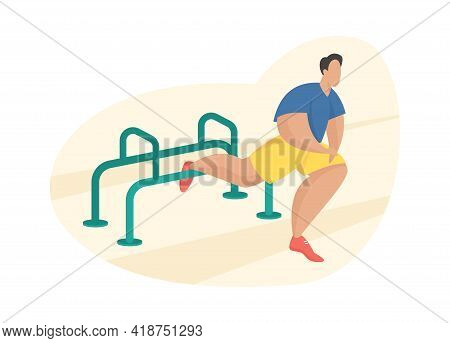 Outdoor Fitness Equipment Flat Illustration. Male Cartoon Character Doing Workout Leg Stretching Exe