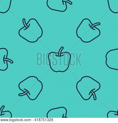 Black Line Apple Icon Isolated Black Line Background. Excess Weight. Healthy Diet Menu. Fitness Diet