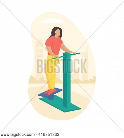 Outdoor Fitness Equipment Flat Illustration. Female Cartoon Character Doing Workout Twisting Exercis