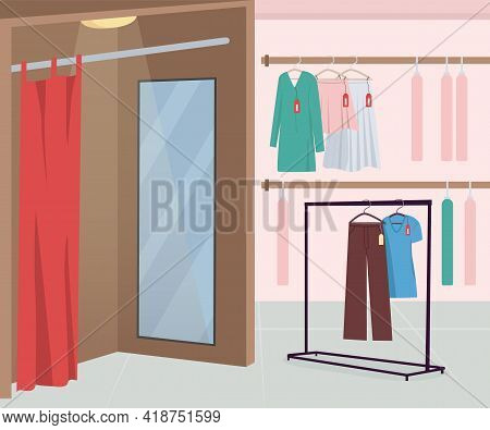 Dressing Room In Clothing Store Flat Color Vector Illustration. Apparel For Buying. Textile For Sale