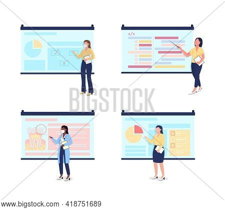 Female Tutors With Projector Screens Flat Color Vector Faceless Character Set. Multicultural Women.