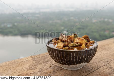 The Viscera Of Mackerel Fish Paunch Hot Spicy Curry Or Fish Organs Sour Soup With Bamboo Shoots And