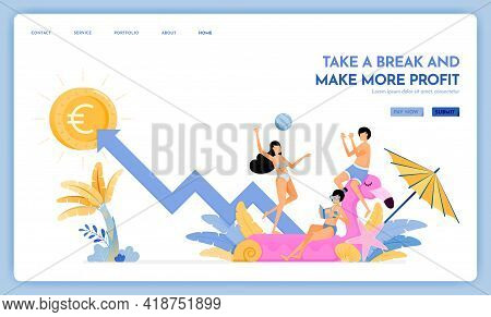 Travel Website With Theme Of Take A Break And Make More Profit. Enjoy Traveling And Vacationing To S