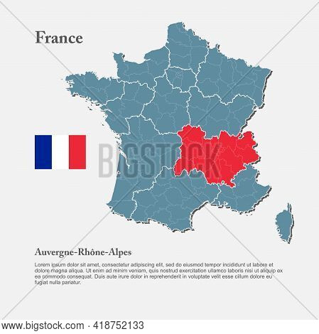 Vector Map Country France, Auvergne French Alpes