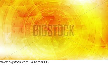 Vibrant yellow low poly technology motion background with HUD gear elements. Geometric abstract design. Seamless looping. Video animation Ultra HD 4K 3840x2160