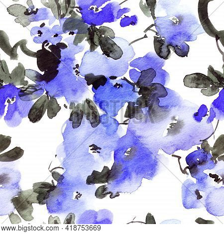 Watercolor And Ink Illustration Of Blossom Tree With Blue Flowers And Leaves. Oriental Traditional P