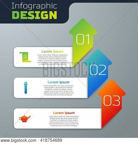 Set Ancient Magic Book, Bottle With Potion And Magic Lamp Or Aladdin. Business Infographic Template.