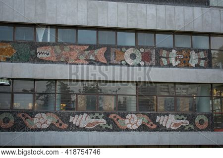 Small Prehispanic Murals Under Rows Of Windows