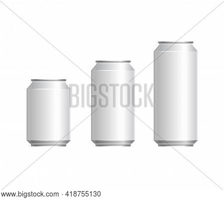 Aluminum Blank Soda Cans Set On White Background. Vector