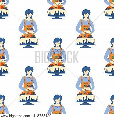 Seamless Pattern. Woman Cook Decorates Cake With Berries. Background For Birthday Decoration, Invita