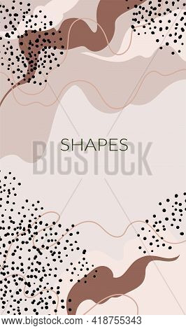 Abstract Poster With Composition Of Organic Shapes In Trendy Modern Style. Place For Text. Smooth Li