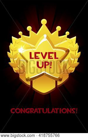 Level Up Reward Cartoon Gold Icon, Game App Ui Isolated Design Element For Game.