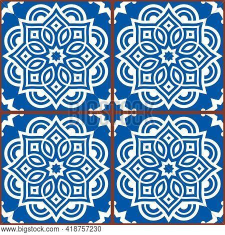 Moroccan Mandala Tile Seamless Vector Pattern In White On Blue Background, Gometric Ornamental Texti