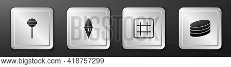 Set Lollipop, Ice Cream In Waffle Cone, Waffle And Brownie Chocolate Cake Icon. Silver Square Button