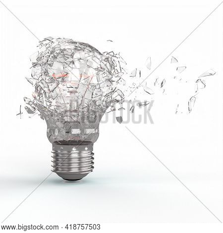 explosion of a tungsten filament electric light bulb. 3d render