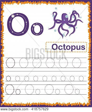 Vector Illustration Of Exercises With Cartoon Vocabulary For Kids. Colorful Letter O Uppercase And L