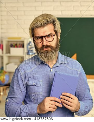Study Lessons For Exam. Strict Teacher In Glasses. Teacher Check Knowledge. Are You Ready For Exam T