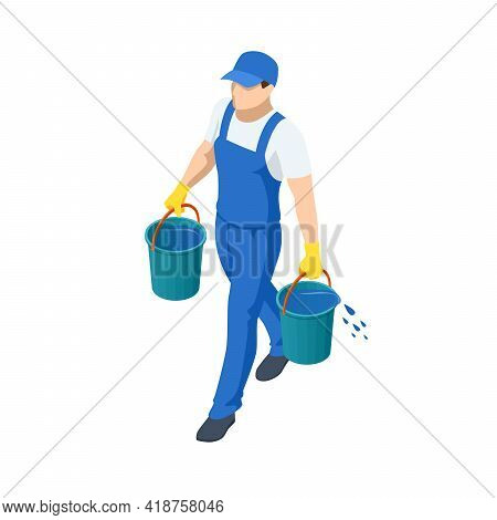 Agricultural Work. Isometric Farmer Carries Two Buckets Of Water To Water The Plants. Farming Activi