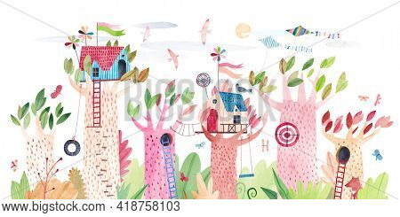 Cute children tree houses. Playground in the park. Watercolor illustration.
