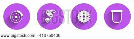 Set Bicycle Brake Disc, Derailleur Bicycle Rear, Sprocket Crank And Lock Icon With Long Shadow. Vect