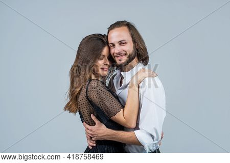 Happy Family Embracing. Couple In Love Spend Time Together. Togetherness. Love And Passion. Casual F